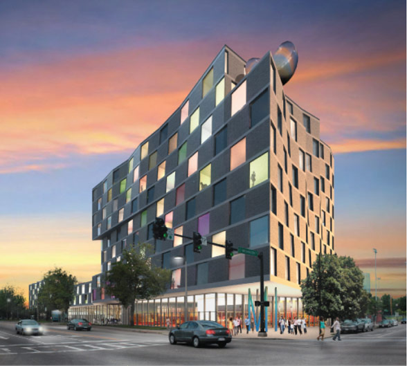 Hotel, community center, residential and retail structure at Washington Street and Melnea Cass Blvd., by Urbanica.