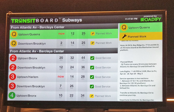 Roadify's TransitBoard at Barclays Center