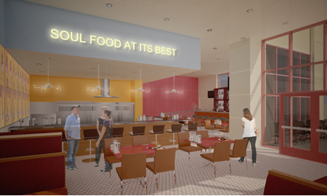 Artist rendering of Home of Chicken and Waffles restaurant in Downtown Richmond.